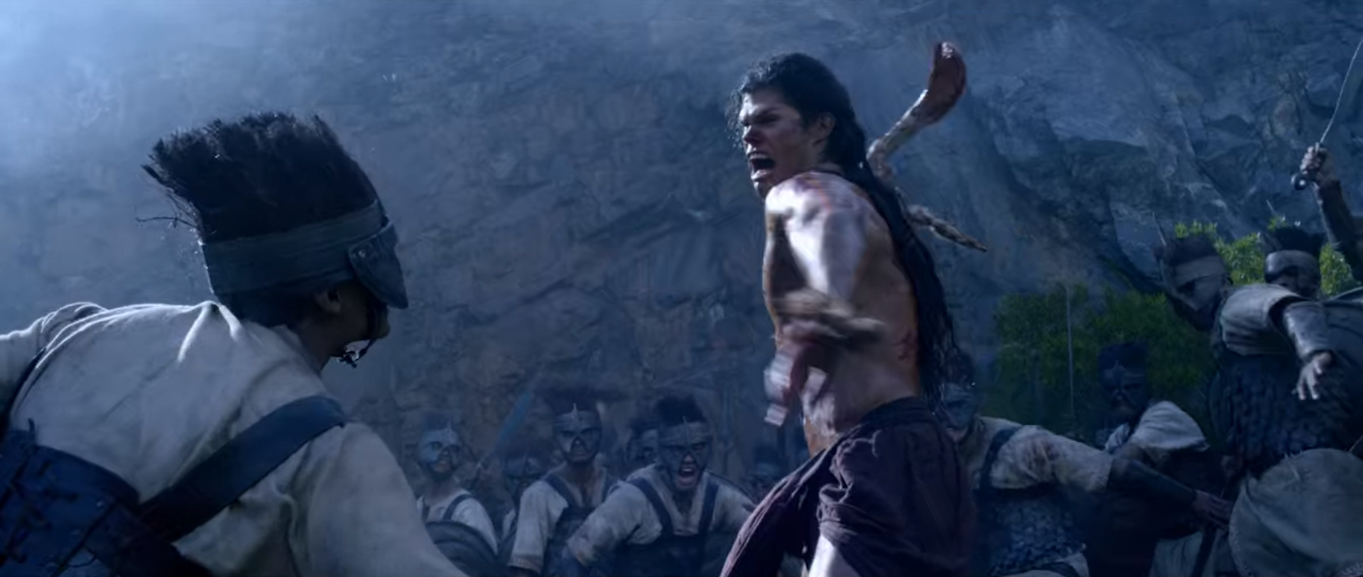 Taylor James as Samson fighting Philistine warrior in Pureflix Christian Movie