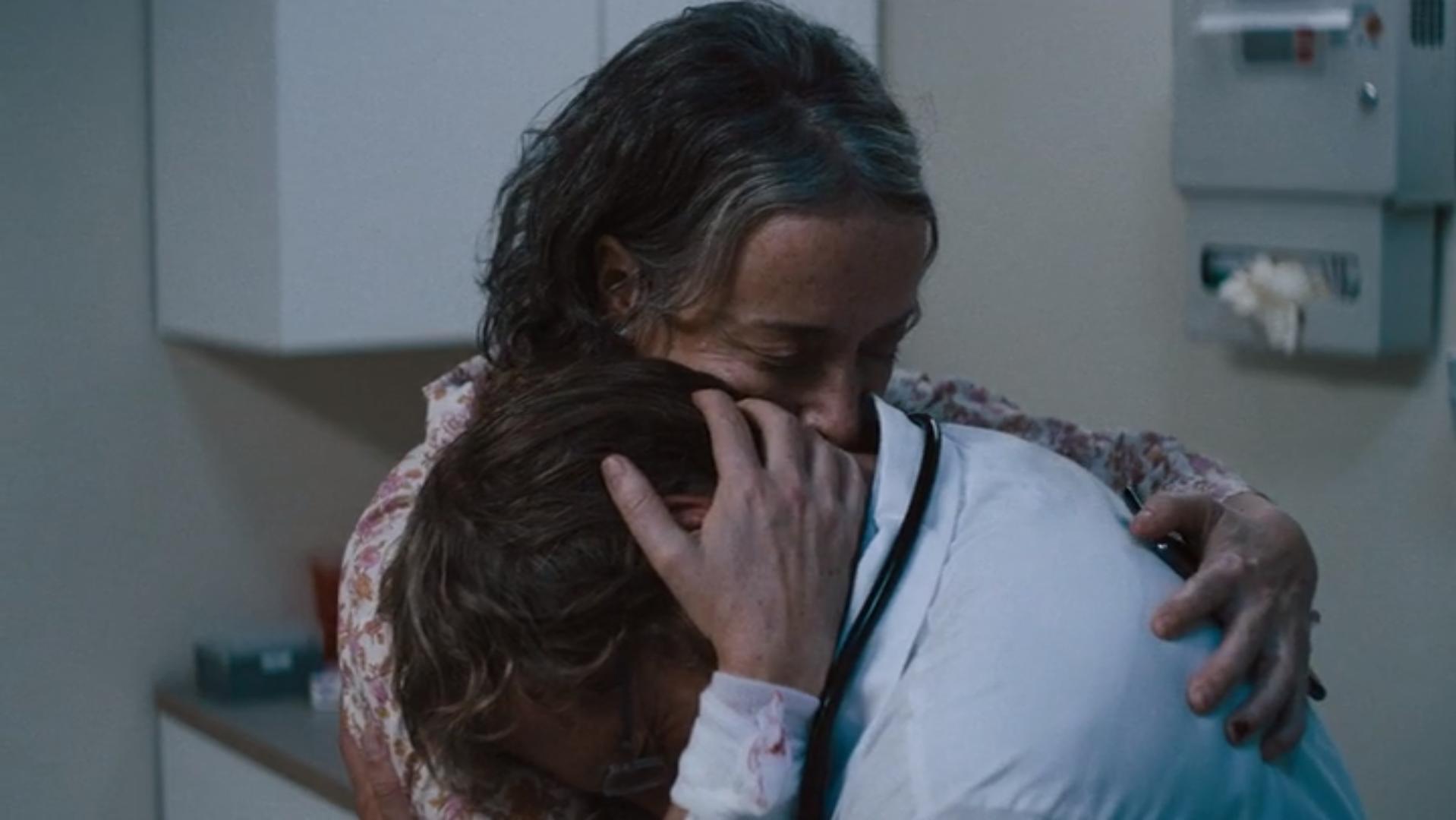 Jane Adams in She Dies Tomorrow hugging on Christian Movie Podcast Cinematic Doctrine CINDOC