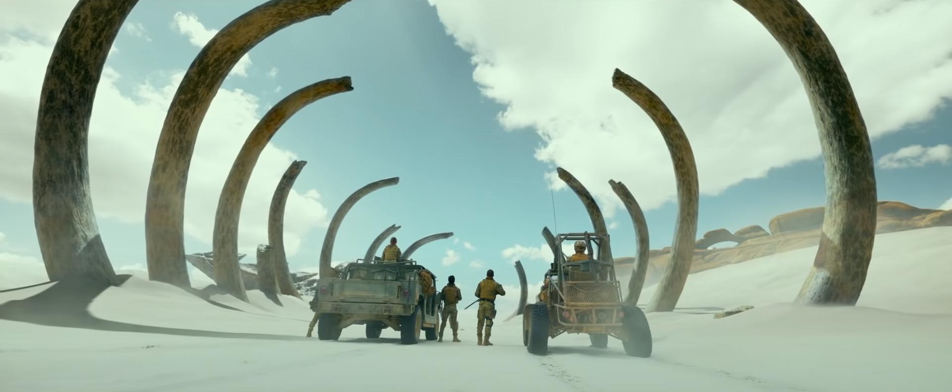 Creature bones in Monster Hunter video game movie trailer on Cinematic Doctrine