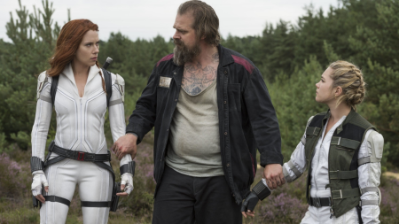 Scarlett Johansson, David Harbour, and Florence Pugh in Black Widow on Cinematic Doctrine Christian Movie Podcast